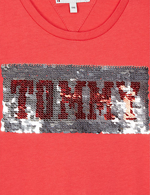 9759813a5d5 TOMMY HILFIGER Sequinned logo cotton T-shirt