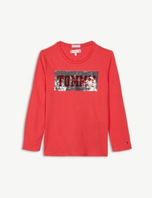 TOMMY HILFIGER Sequinned logo cotton T-shirt