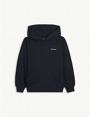 BALENCIAGA: Logo-printed cotton hoody 4-10 years