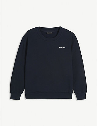 BALENCIAGA: Logo-print cotton jumper 4-10 years