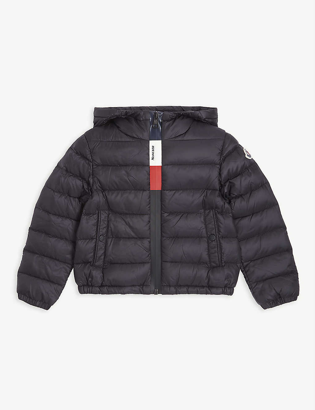 MONCLER: Stripe zip down padded coat 2-16 years