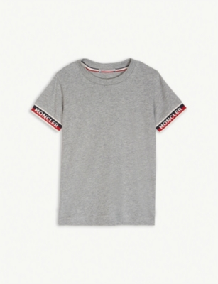MONCLER Logo tape cotton T-shirt 4-14 years