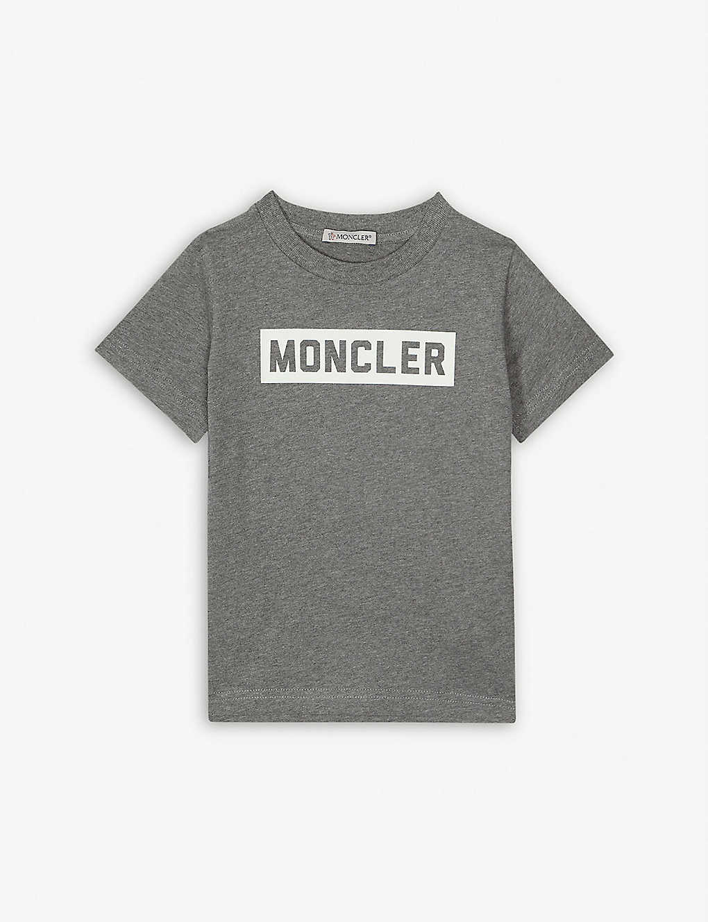 MONCLER: Logo print cotton T-shirt 4-14 years