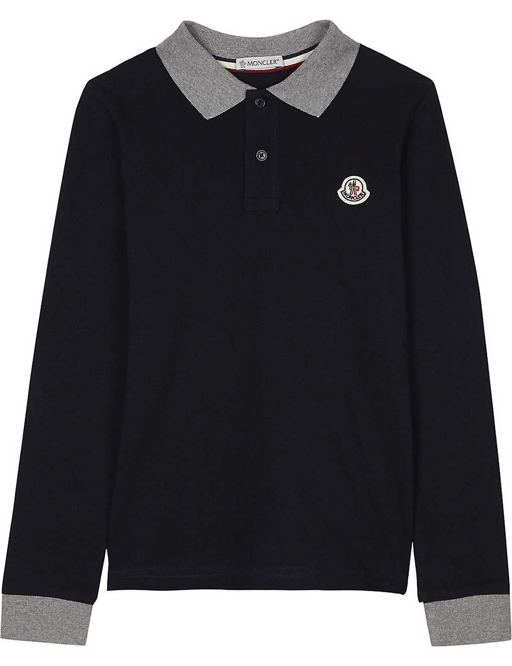 b235041b2 MONCLER - Long-sleeved cotton polo shirt 4-14 years | Selfridges.com