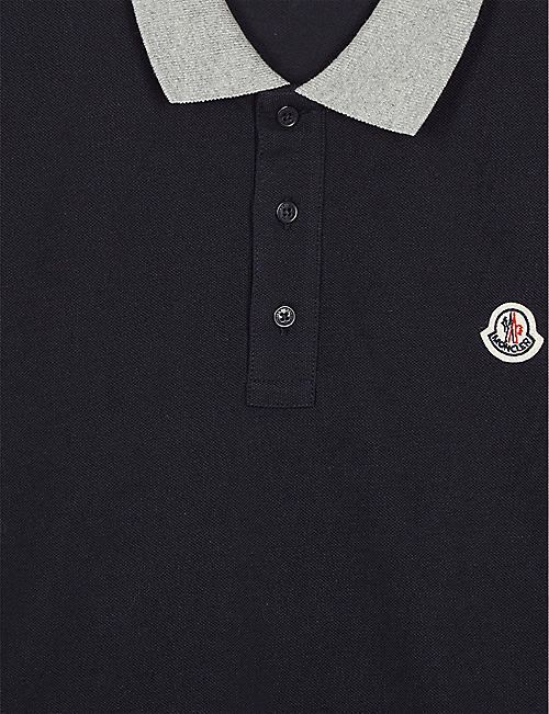 MONCLER Contrast collar cotton polo shirt 4-14 years