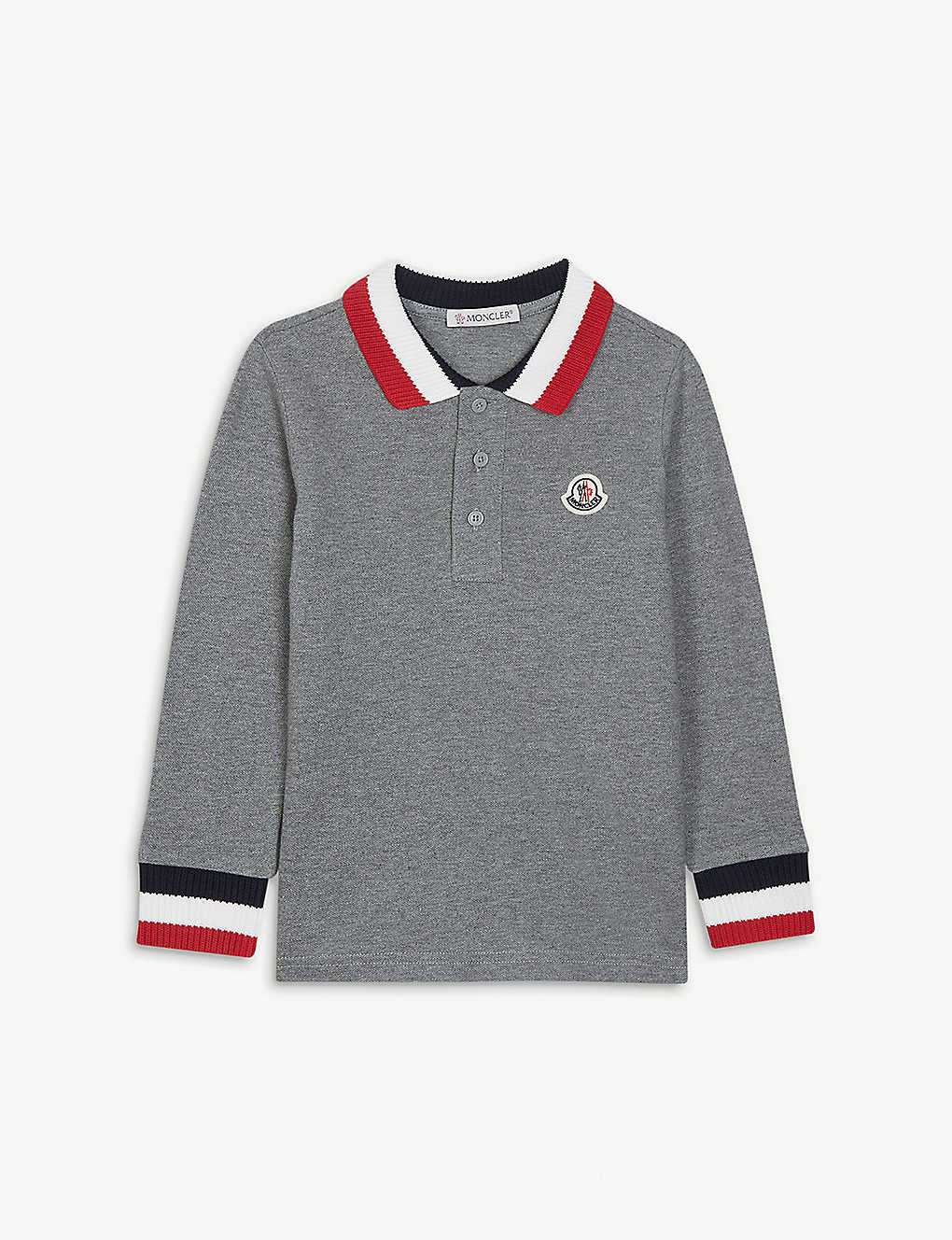 MONCLER: Knitted collar long-sleeved cotton polo top 4-14 years