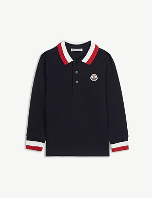 MONCLER Knitted collar long-sleeved cotton polo top 4-14 years