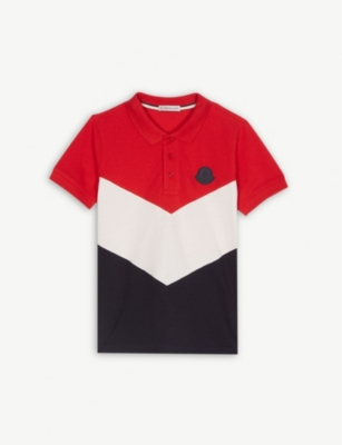 MONCLER Chevron colour-block cotton polo shirt 4-14 years