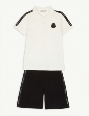 MONCLER Cotton polo and shorts set 4-14 years