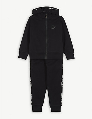 MONCLER: Logo tape cotton tracksuit 4-14 years