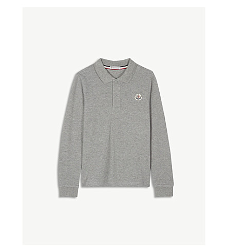 5cdf18813 MONCLER - Tipped collar long-sleeved cotton polo shirt 4-14 years ...