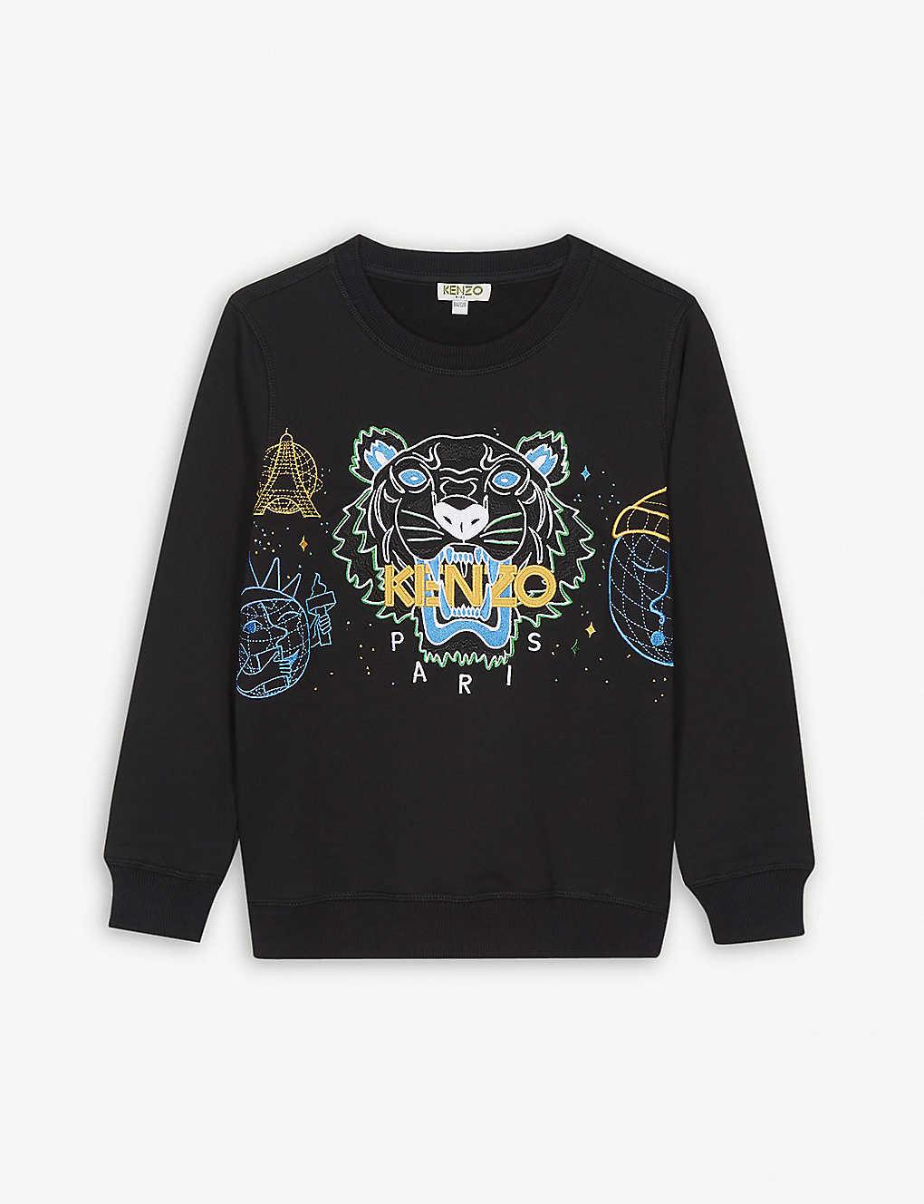 b1835d6205d9 KENZO - Cosmic tiger cotton-blend sweatshirt 4-16 years | Selfridges.com