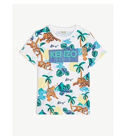 96120c64 KENZO - Logo Hawaiian print cotton T-shirt 4-14 years   Selfridges.com