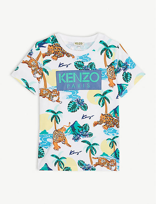 987890483 KENZO Logo Hawaiian print cotton T-shirt 4-14 years