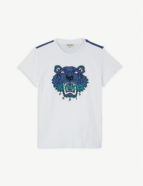 KENZO Logo airtex mesh cotton T-shirt 4-14 years 83346961d