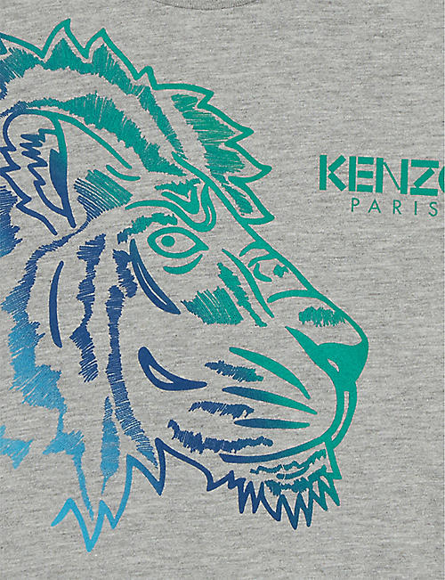 KENZO Lion and leopard print cotton-blend T-shirt 4-14 years