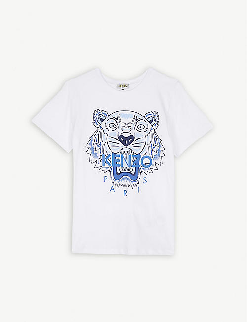 56f5f8409f1c KENZO Tiger logo cotton T-shirt 4-14 years