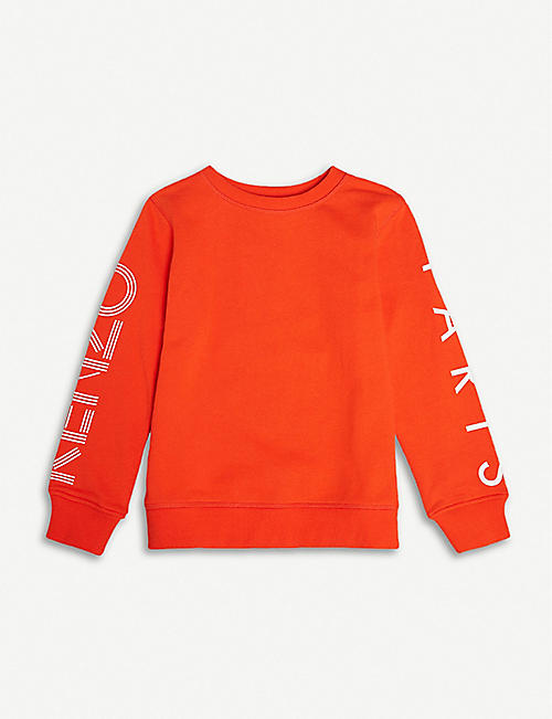 KENZO Logo-sleeve cotton jumper 4-14 years