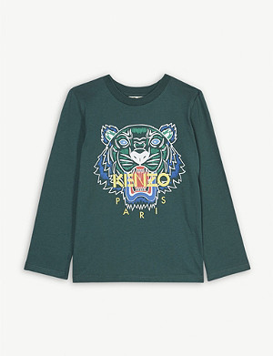 KENZO Tiger logo long-sleeved cotton T-shirt 4-14 years