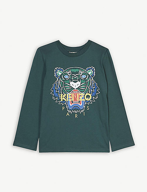d047fbe756f7 KENZO Tiger logo long-sleeved cotton T-shirt 4-14 years