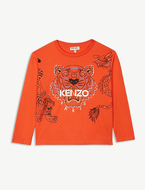 KENZO Dragon and tiger logo cotton top 4-14 years
