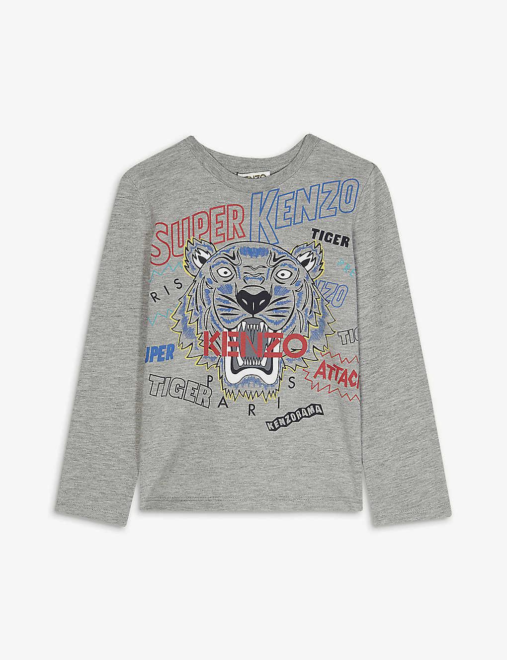 0c8f9341d159 KENZO - Super tiger cotton long-sleeve T-shirt 4-14 years ...