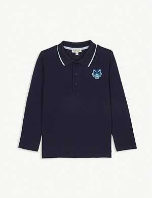 KENZO Tiger patch long-sleeved cotton polo shirt 4-14 years