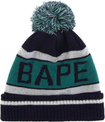 ee07396e764b4f A BATHING APE - Logo knitted bobble hat
