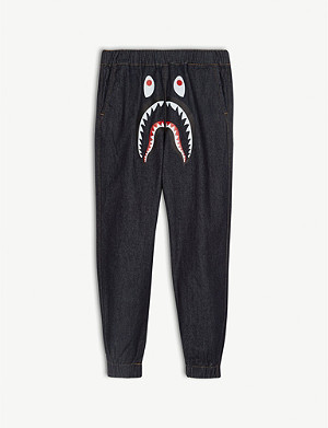 A BATHING APE Shark print denim joggers 4-8 years