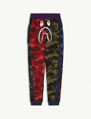 A BATHING APE Shark camouflage cotton jogging bottoms 4-8 years