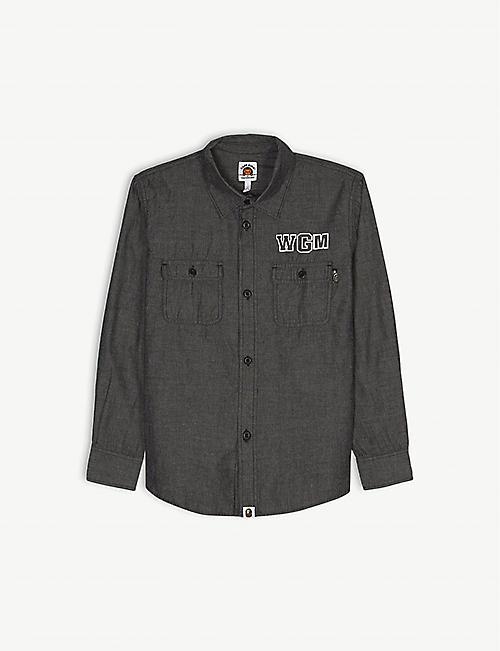 7e00c0f5250b A BATHING APE WGM shark print cotton shirt 4-8 years
