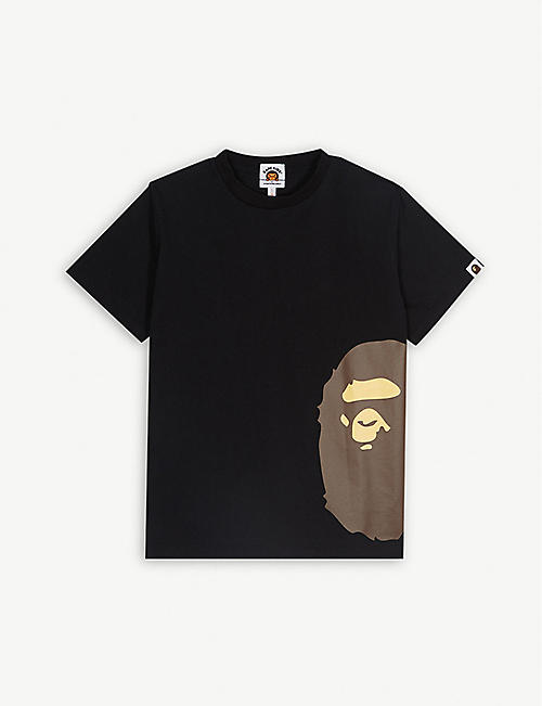 A BATHING APE Ape logo cotton T-shirt 4-8 years b588bcdbb8