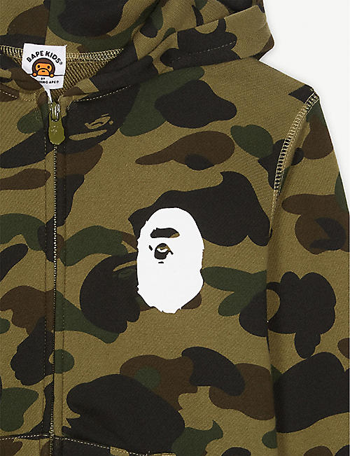 A BATHING APE Ape logo camouflage cotton hoody 4-8 years