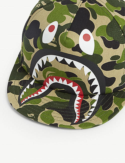 A BATHING APE Shark graphic camouflage print baseball cap