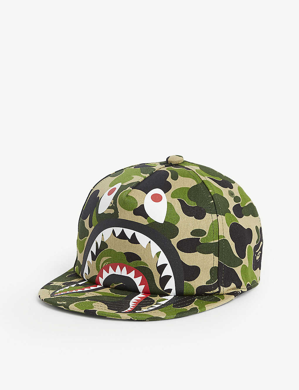 A BATHING APE: Kids Shark graphic camouflage print baseball cap