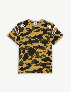 A BATHING APE Shark camouflage cotton T-shirt 4-8 years
