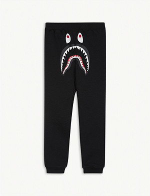 A BATHING APE Shark face slim-fit cotton jogging bottoms 4-10 years