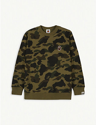 A BATHING APE: 1st Camo cotton jumper 4-10 years