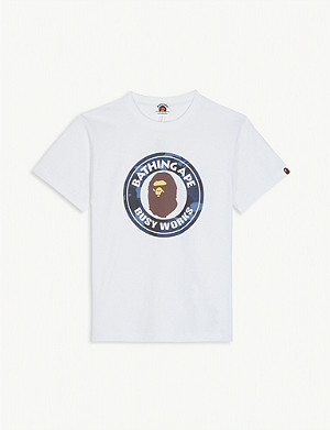 A BATHING APE Busy Works logo badge cotton T-shirt 4-8 years