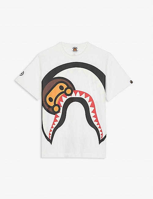 A BATHING APE Glow-in-the-dark Milo shark print cotton T-shirt 4-8 years