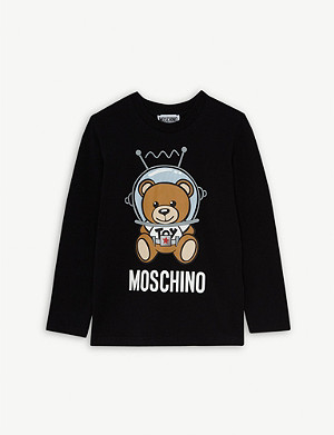 MOSCHINO Space teddy long-sleeved cotton-blend T-shirt 4-14 years