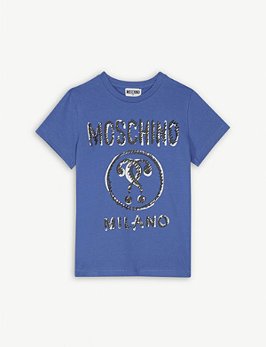MOSCHINO Scribble Milano logo cotton T-shirt 4-14 years