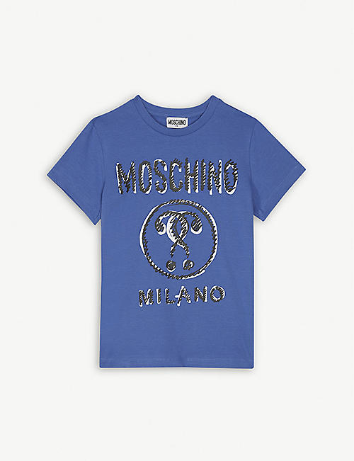 f73d7de9f MOSCHINO Scribble Milano logo cotton T-shirt 4-14 years