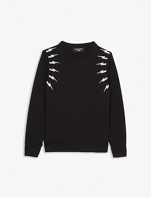 NEIL BARRETT Lightning bolt cotton sweatshirt 4-14 years