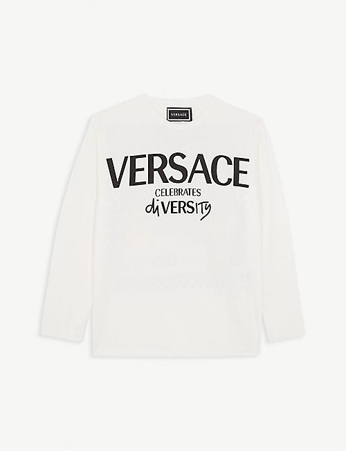 VERSACE Diversity logo print cotton-blend top 4-14 years