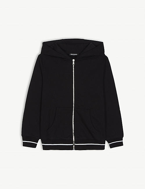 BALMAIN Logo cotton zipped hoody 4-16 years