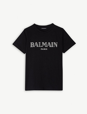 BALMAIN Metallic logo cotton T-shirt 4-16 years