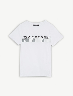 BALMAIN Mirrored logo cotton T-shirt 4-16 years