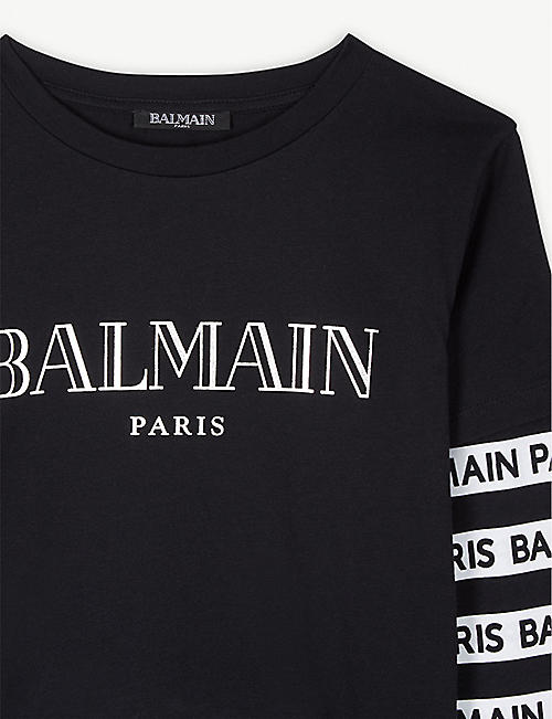 BALMAIN Logo print layered sleeves T-shirt 4-14 years