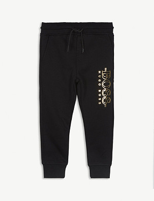 BOSS Logo print fleece jogging bottoms 2-16 years